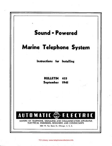 ae bulletin 633 - sound-powered marine telephone system
