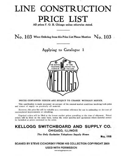 1918 construction cat nr 1 price list nr 103