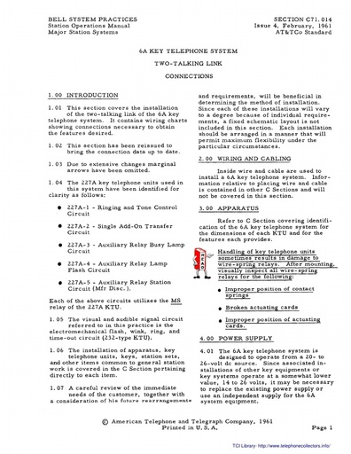 C71 014 6A KEY TELEPHONE SYSTEM TWO TALKING LINK CONNECTIONS